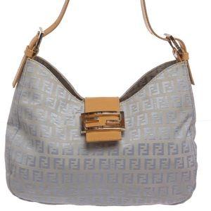 c1df6bda63c4 Fendi Bags - Fendi Blue Zucca Canvas Tan Leather Trim Handbag